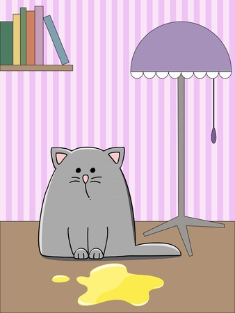 pee: sad grey kitten in a room near a yellow pool Illustration