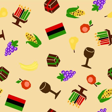 seamless background with traditional kwanzaa celebration stuff Vector