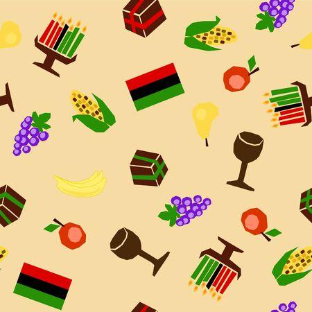 kwanzaa: seamless background with traditional kwanzaa celebration stuff