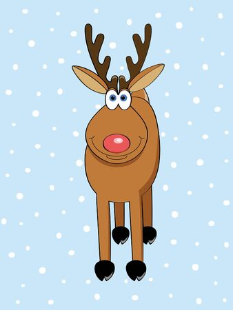 a cute Christmas deer standing in the snow vector illustration Vector
