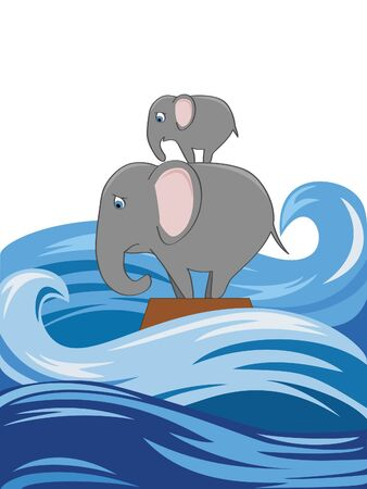flood: an elephant with a baby in the flood Illustration