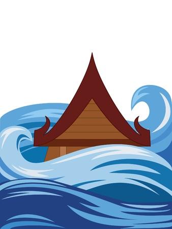 de Thailand traditionele stijl huis onder water