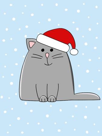 gato caricatura: un lindo gato gris con un sombrero de Navidad en la cabeza