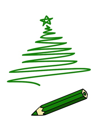 a green pencil and a green drawing of a Christmas tree 일러스트