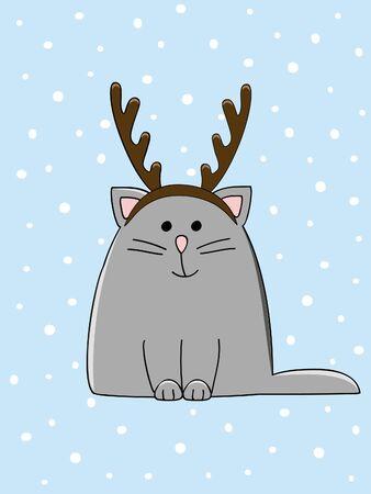 a cute cat with a Christmas antler headband Vector