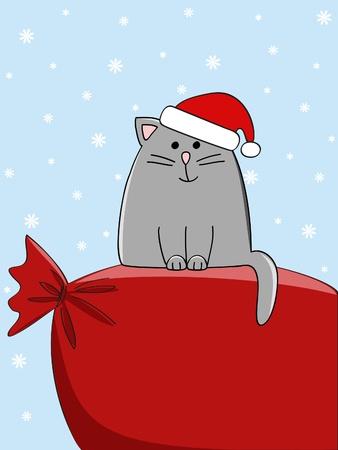 weihnachtsmann lustig: eine niedliche Katze sitzt auf einem großen Beutel vorhanden