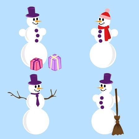 a set of four snowmen with different accessories Stock Vector - 11529833