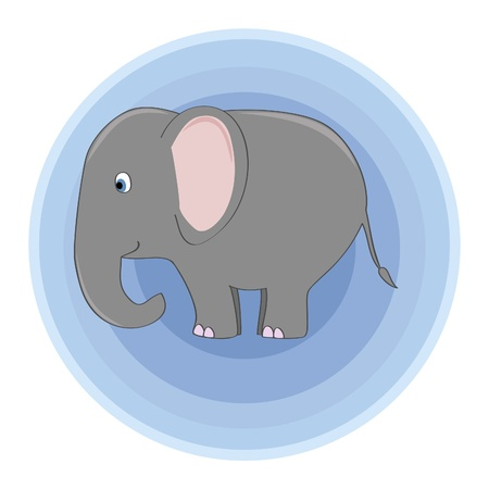 african grey: a cute elephant over the blue circles background