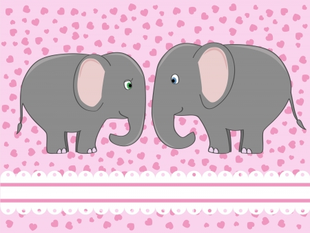 a couple of cute elephants in love illustration Banco de Imagens - 14191521
