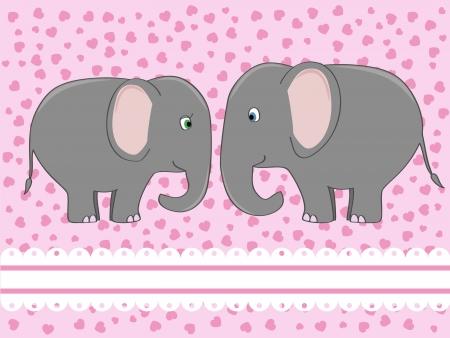 Un par de elefantes en la ilustración lindo amor Foto de archivo - 14191521