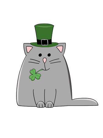 grey cat: a cute grey cat with a green Irish hat and shamrock Illustration