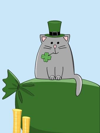 money cat: un gato gris lindo en el sombrero irland�s verde sentado en el saco de oro
