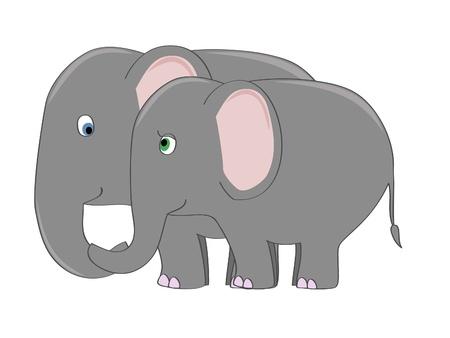 愛のベクトル図のかわいい象のカップル