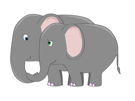 love image: a couple of cute elephants in love vector illustration