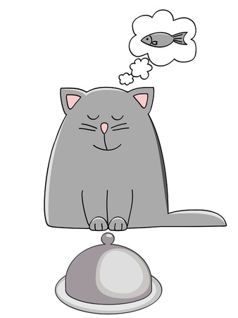 cat eating: a cute kitten dreaming of a fish