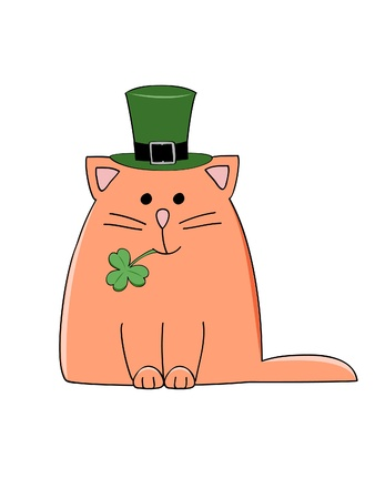 a cute red cat with a green Irish hat and shamrock Vector