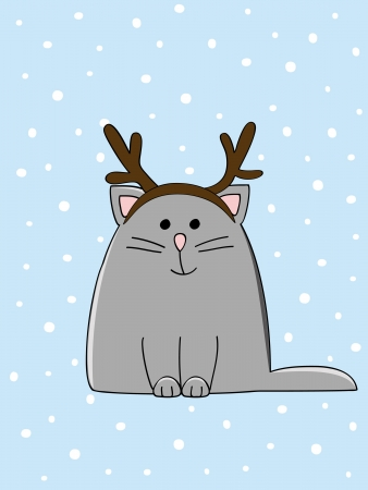 cute grey kitten wearing Christmas deer horn Vector
