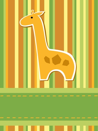 greeting card with stripes and giraffe Vector