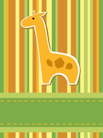 wenskaart met strepen en giraf