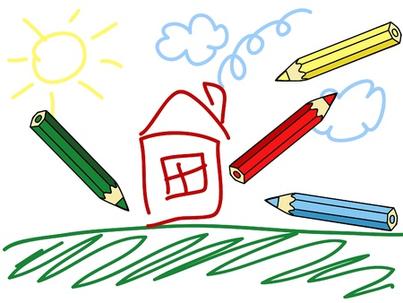 a child's drawing and colorful pencils