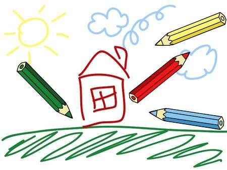 een kind tekening en kleurrijke potloden