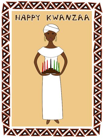 an African woman in traditional clothes with a kwanzaa kinara