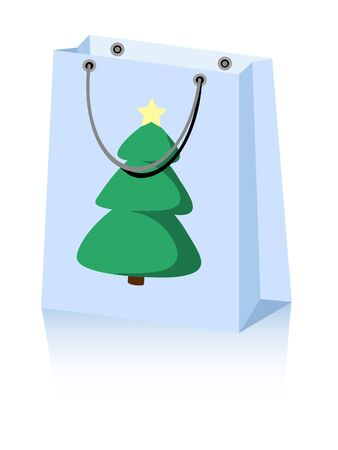 shopping bag with Christmas tree and a star Stock Vector - 16484252