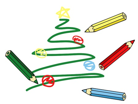 child's: a child�s Christmas tree drawing and colorful pencils vector illustration Illustration