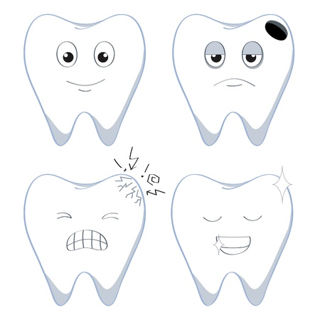 dientes caricatura: conjunto de dibujos animados dientes humanos en cuatro condiciones
