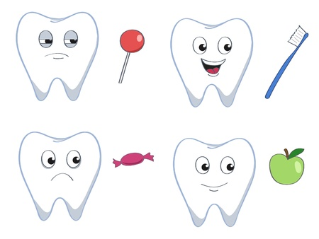 dental hygiene: set of four cartoon teeth with good and bad stuff Illustration