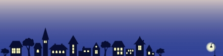 night city houses view vector banner