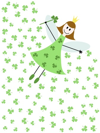 a flying fairy with shamrock leaves Stock Vector - 18282404