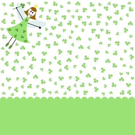green card with fairy girl and shamrocks Vector