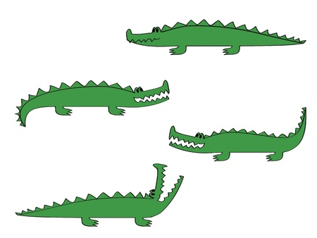 a cartoon crocodile in four different poses