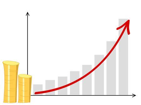 un diagrama con una pila de monedas y una flecha que va hacia arriba