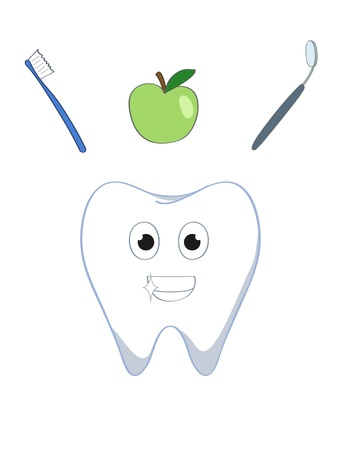 a happy healthy cartoon tooth and tooth-friendly stuff Vector