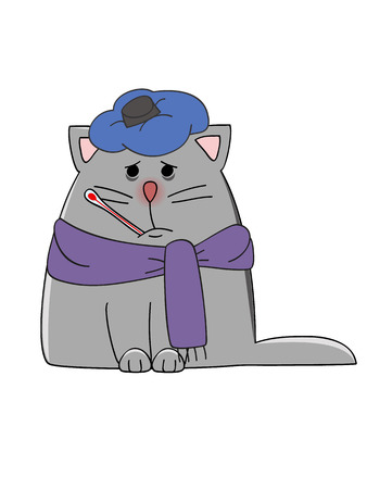 cartoon cat with flu illustration Ilustrace