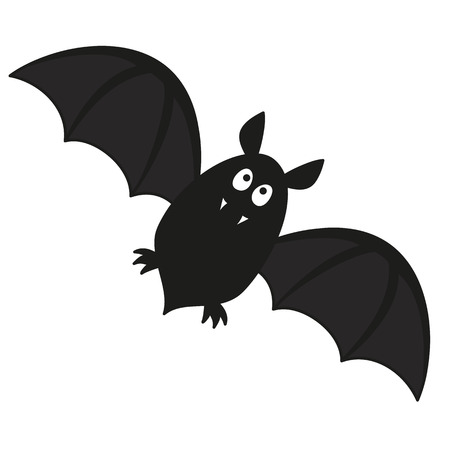 cute flying bat with fangs vector illustration