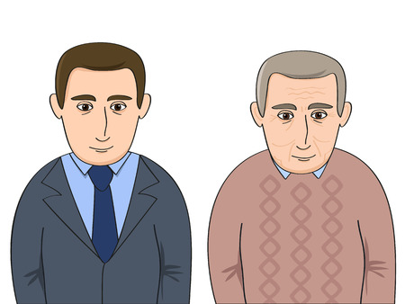 old person: one person in young and old age Illustration