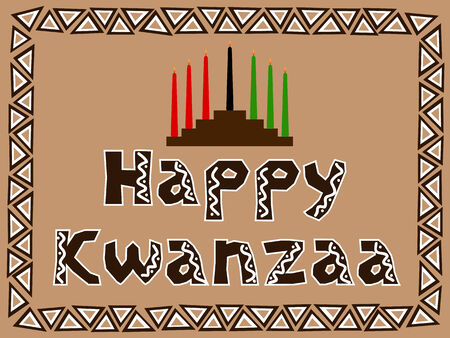 kwanzaa: kwanzaa postcard with candlestick and traditional ornament Illustration