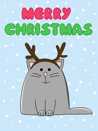 d cor: Christmas card with a cute cat in antlers headband Illustration