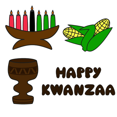 set of traditional kwanzaa symbols and text Happy Kwanzaa Vector