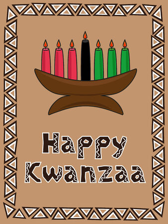 Kwanzaa postcard with candlestick and traditional ornament Vector