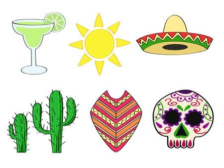 mexico cartoon: a set of traditional symbols of Mexico
