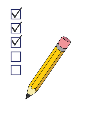 checkboxes: a pencil putting ticks in checkboxes