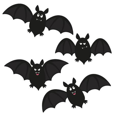 a set of four flying cartoon bats Vettoriali