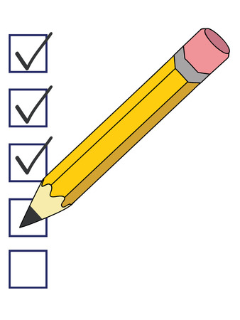a pencil putting ticks in checkboxes on the white paper
