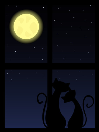 two cats in love looking at night sky through the window