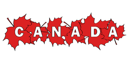 cut outs: word Canada written by letters cut out of red maple leaves