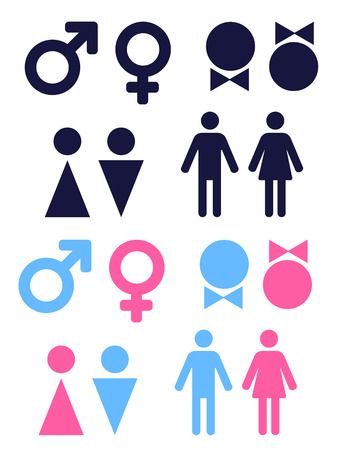 female sex: set of vector icons symbolizing male and female persons